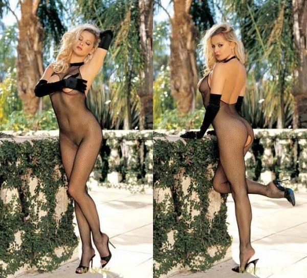 Sexy Netzbody Catsuit Bodystocking Brustfrei