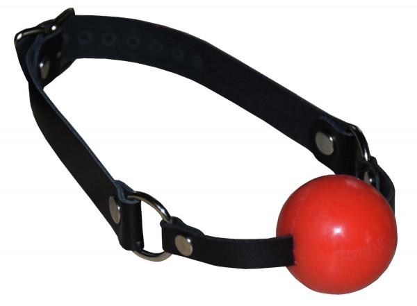 TERGINUM Ballknebel Ballgag mit schwarzem Ledergurt / Silikon oder Gummiball