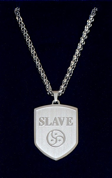 Exklusiver BDSM Wappen Anhänger + Halskette SLAVE