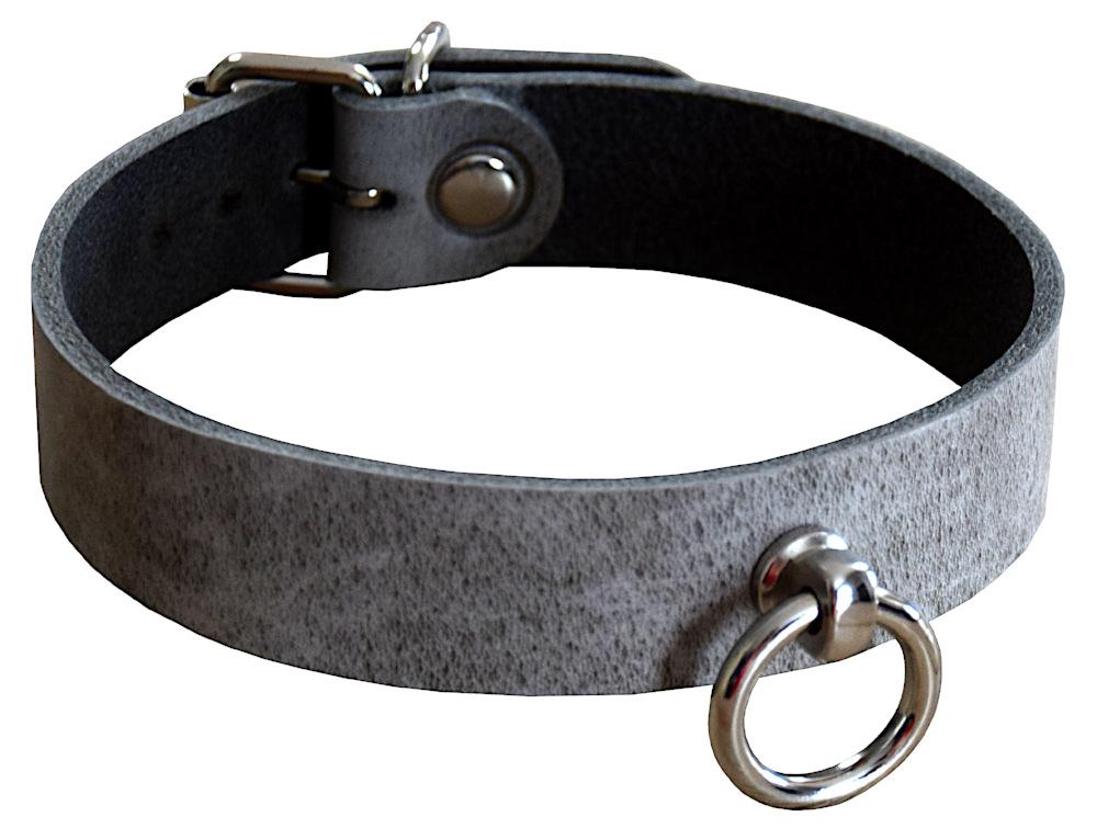 Edles Terginum BDSM Echt Leder Halsband der O Ring gothic Fetish braun neu