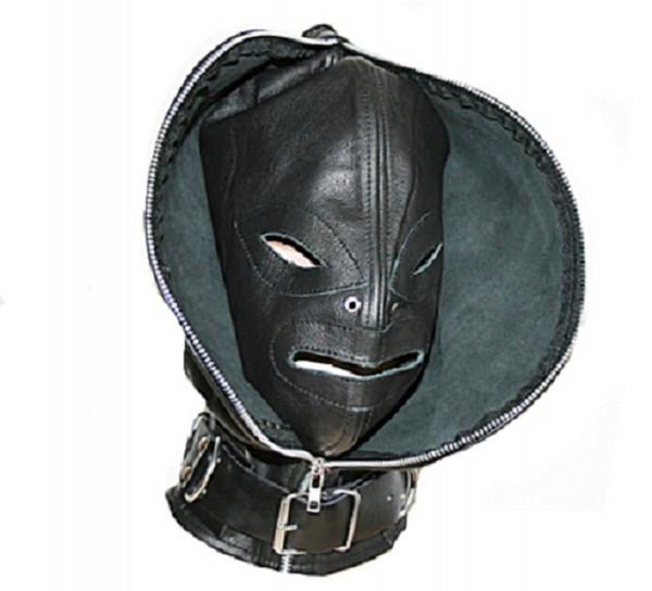 Bondage Doppelmaske Ledermaske mit Reißverchluß