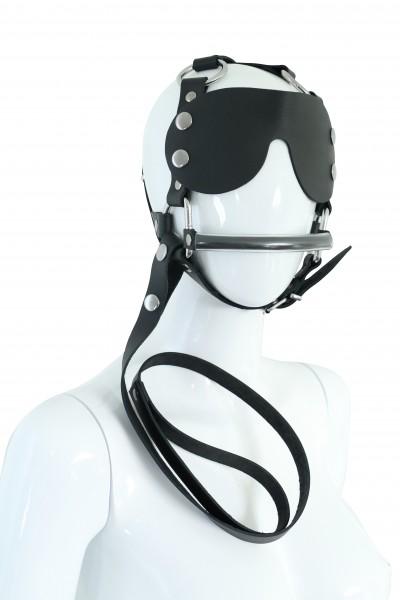 BDSM Maske Harness Kopfgeschirr PFERD mit Augenklappe und Leine