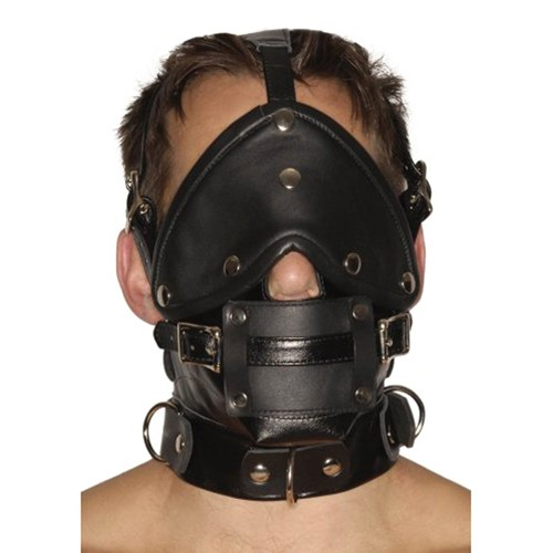 Strict Leather Premium-Maulkorb aus Leder mit Augenbinde & Knebel