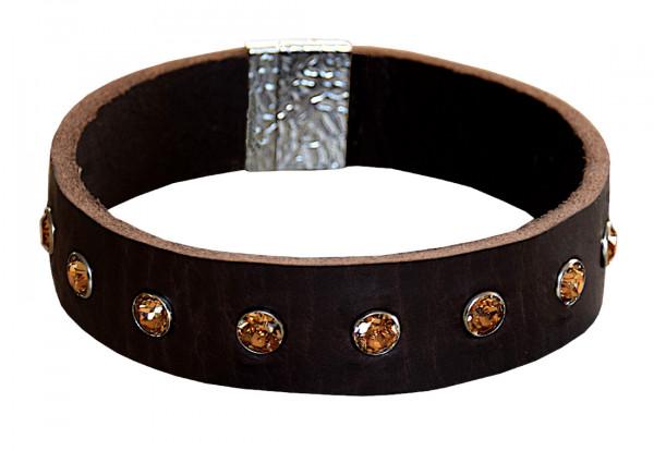 Edles PREMIUM Schmuck-Halsband mit SWAROVSKI Kristallen und Magnetverschluss, TOPAZ - Maßanfertigung