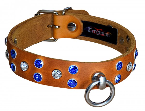 Exklusives Halsband mit Swarovski Kristallen blau / klar