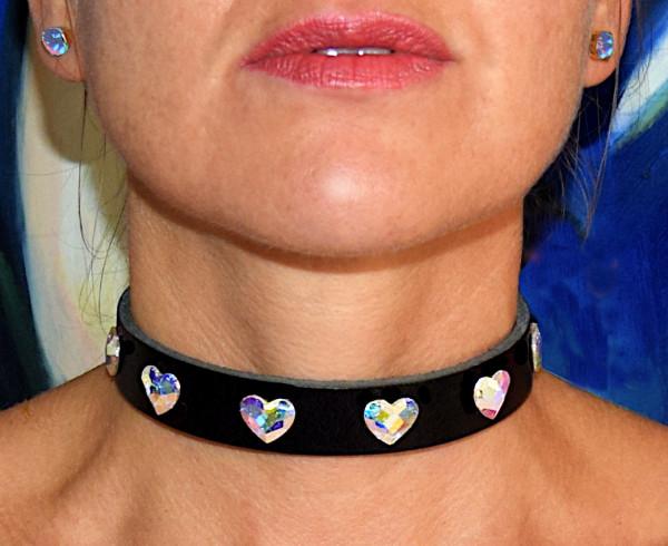 Exklusives PREMIUM HERZ Halsband mit SWAROVSKI Kristallen - Maßanfertigung