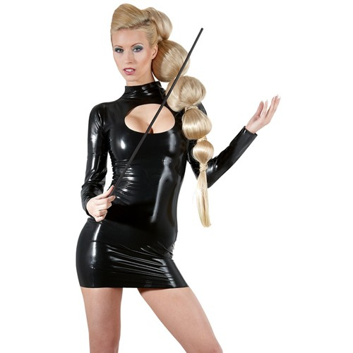 Schwarzes Latex-Kleid