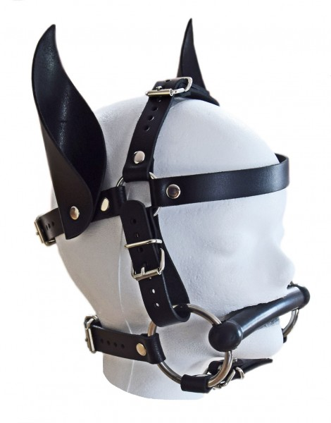Exklusives TERGINUM Kopfgeschirr Knebel-Harness mit Beißstange und Ohren