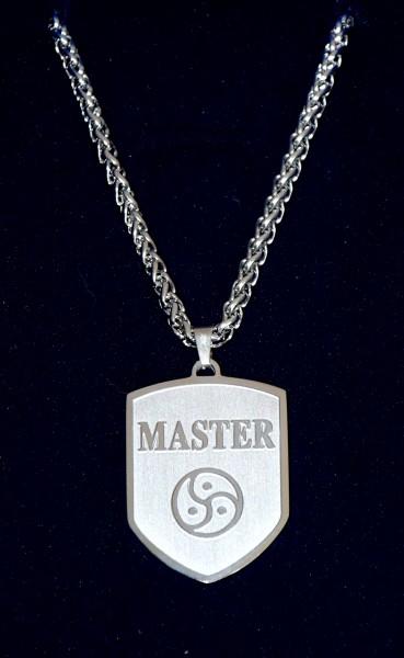 BDSM Wappen-Anhänger inkl. Kette Slave, Master oder Peitschenrad